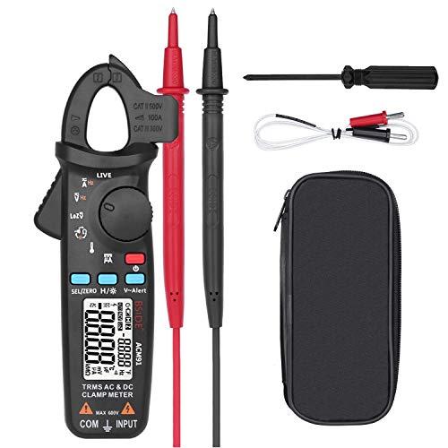 Clamp Multimeter Digital Current Meter AC DC Current Voltage True RMS Auto Range 6000 Counts 100 amp Mini Meter With Temperature Capacitance NCV Measure LoZ Volts