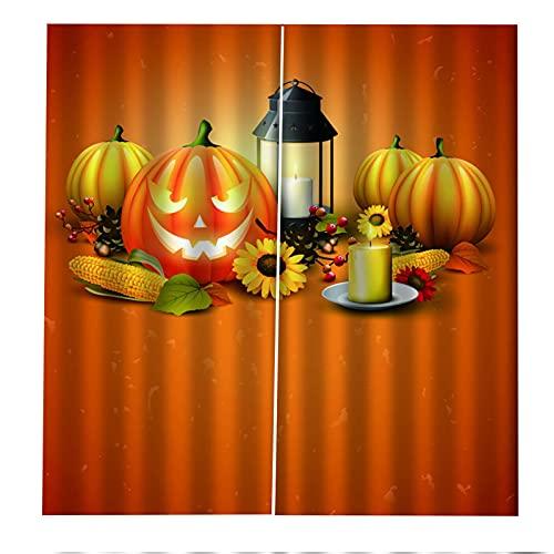 FACWAWF Decoración De Halloween Cortina Lámpara De Calabaza Sala De Estar 3D Dormitorio Balcón Decoración Cortina Habitación De Los Niños Insonorización Cortina Opaca Anti-UV 2xW117xH138cm