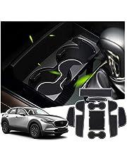 SHAOHAO Gumowa nakładka do Mazda CX-30, konsola środkowa, mata antypoślizgowa, nakładka na uchwyt na napoje, nakładka na szwy drzwi (biała)