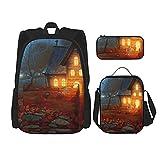 Happy Halloween Evil Pumpkin mejor regalo para estudiantes 3 en 1 Set mochilas resistentes al agua/gran capacidad lápices casos/bolsa de almuerzo aislada para mujeres/hombres