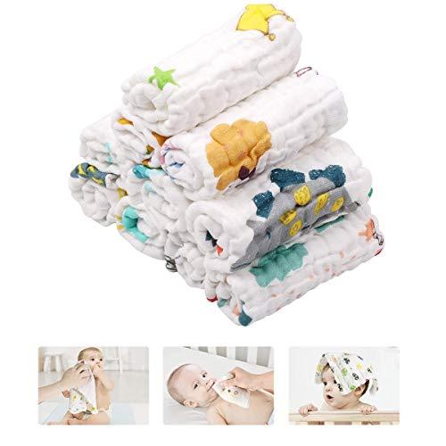 JUEJIDP Juego de Toallas de Muselina Unisex para Bebé, 100% Algodón, Suave, 6 Capas, Toallas de Baño, Ducha, con Diseño Impreso, Paño de Limpieza para Baberos y Manos