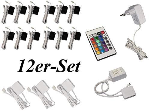 Trango 12er Set TG5022-12 RGB RGB Farbwechsel LED Glaskantenbeleuchtung I Schrankbeleuchtung I Glasbodenbeleuchtung I Vitrinenbeleuchtung Clip I Möbelbeleuchtung