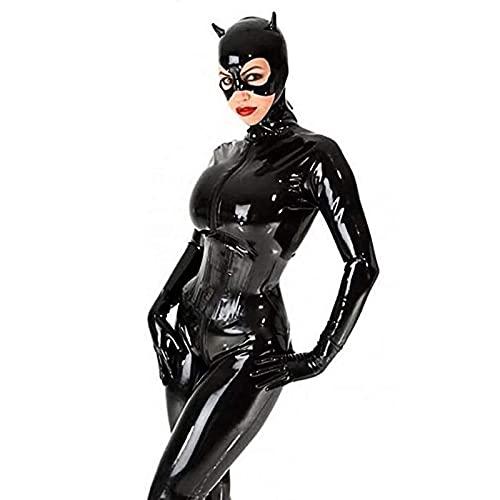 Disfraz Gato Sexy para Damas, Vestido Disfraz Gatúbela para Mujeres Cosplay, Traje Manga Larga para Cuerpo,Negro,M