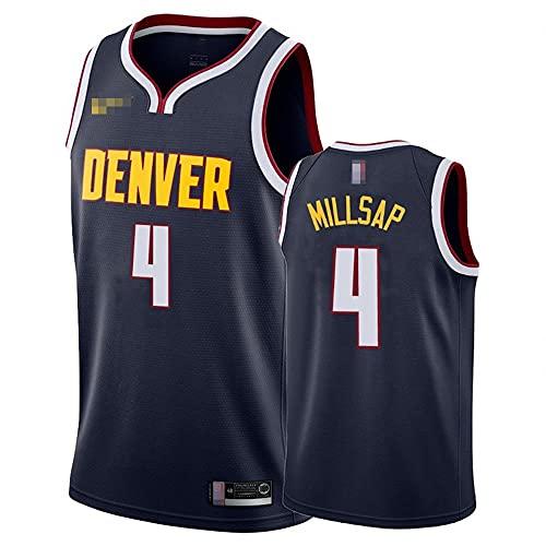YZQ Jerseys De Baloncesto De Los Hombres, NBA Denver Nuggets # 4 Paul Millsap - Comfort Classic Comfort Chalecos Transpirables Camiseta Uniformes Deportivos Tops,Azul,L(175~180CM)