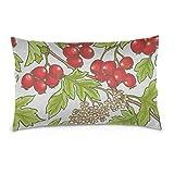 JEOLVP Kissenbezug mit Reißverschluss Hawthorn Branch Red Fruit Cotton Wendbarer Reißverschluss...