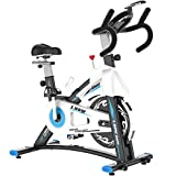 L NOW Indoor Cycling Bike Exercise Bike with Heart Rate, LCD Monitor, Comfortable Seat, Tablet Holder, Stable Quiet and Smooth for Home Cardio Workout(D600)