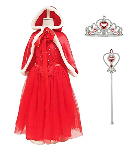 Cinderella Princess Christmas Fancy Costume for Girls Party Birthday Dress up,Red,6-7 Years