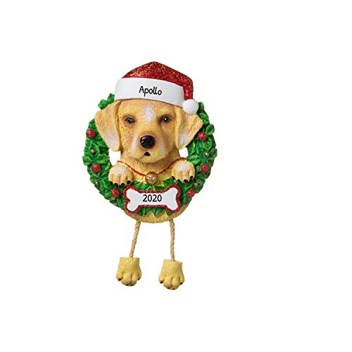 Personalized Yellow Lab Pure Breed Christmas Tree Ornament 2020 - Labrador Retriever Dog Paw Santa Hat Love Eat Play Intelligent Smart Hunt Fur-Ever New Loyal Family R.i.p. - Free Customization