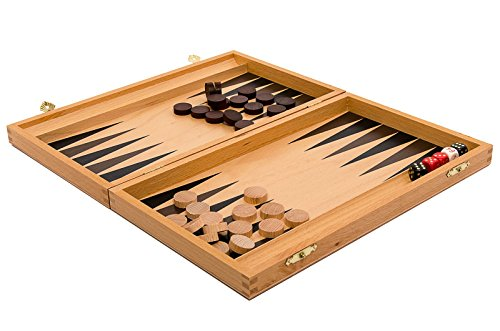 Master of Chess Classic BACKGAMMON Wooden Board Game in Beech Cassette (29 x 35)