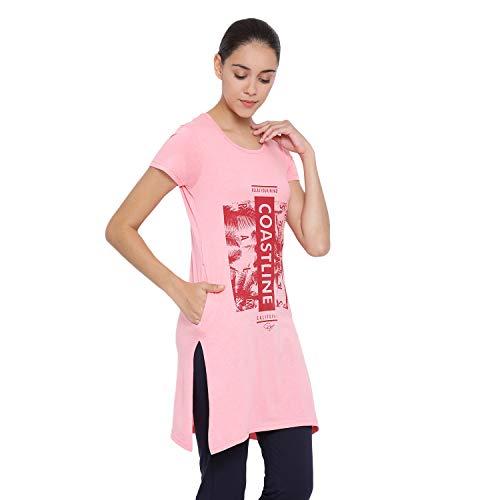 RYSH Women's Cotton Regular Fit Short Sleeve Longline T-Shirt (D Pink, M)