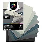 OfficeTree 80 Blatt Tonpapier Grau A4 - Bastelpapier 130g/m² - 8 Grautöne - Fotokarton A4 zum Basteln und Gestalten - Blauer Engel zertifiziert