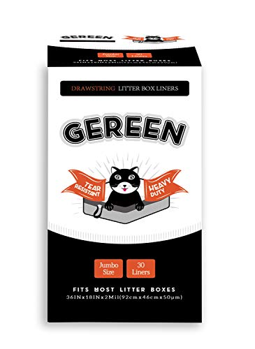 "Gereen Drawstring Cat Litter Box Liner,30 Counts Heavy Duty Jumbo Cat Pan Liner,36""x 18"",2 Mil"