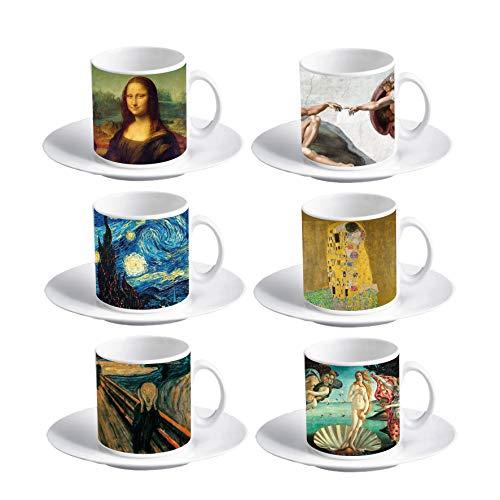 My Custom Style Juego de 6 tazas de café expreso #Arte# 60 x 57 mm con platillo
