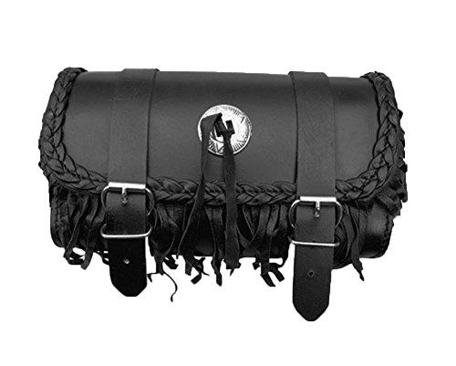 Genuine Leather Motorcycle Windshield Concho Tool Gear Bag w/Fringe Trim