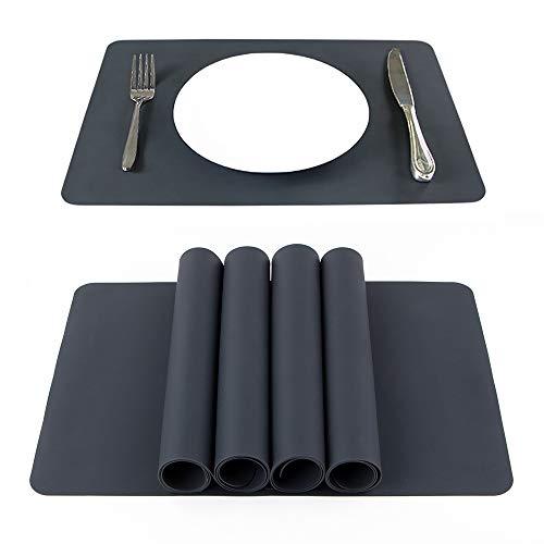 Webake Tischsets Set von 4 rutschfesten Silikon-Küchentischmatten verdicken heiße Matten 40,6 x 30,5 cm hitzebeständige wasserdichte Isoliermatten (waschbar)