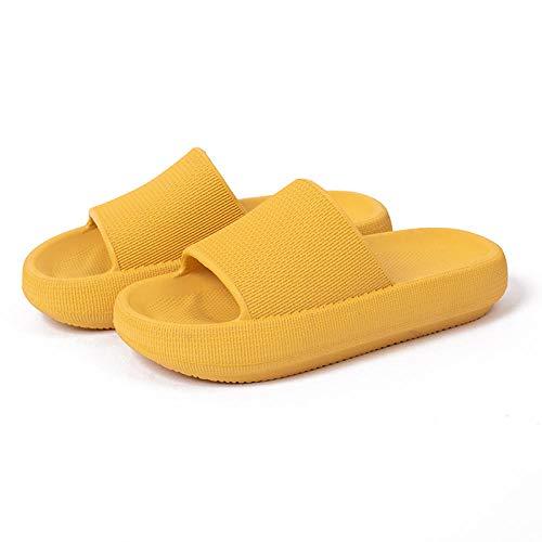 JaMsnc Zapatos de ducha unisex y sandalias, sandalias antideslizantes de baño, zapatillas de plataforma para parejas-39-40_amarillo,Toboganes de ducha de secado rápido