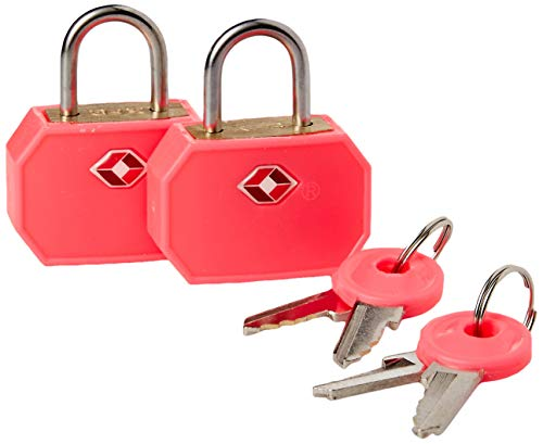 Lewis N. Clark Travel Sentry TSA Lock + Mini Padlock for Luggage Suitcase, Carry On, BackPack, Laptop Bag or Purse - Perfect for Airport, Hotel, And Gym (Includes 4 keys) - 2-Pack, Pink