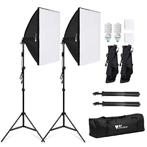 Amzdeal Softbox Focos Kit Iluminacion Fotografia con 2 Ventana de Luz 135W, 2 Softbox 50x70cm, 2 Tripodes Luz Continua para Estudio Fotográfico Profesional,Nuevo