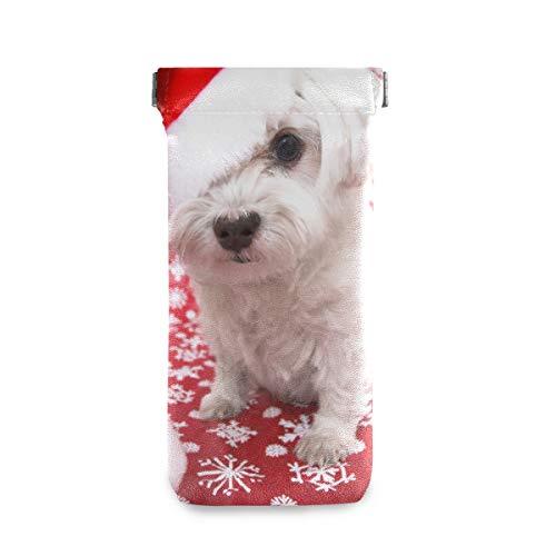 Portátil Blanco Perro Maltés En Navidad Sombrero Multiuso Titular Gafas Gafas Cartera Anteojos Bolsa Gafas de sol Estuche