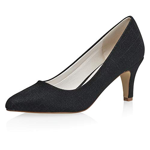 Rainbow Club Brooke - Zapatos de novia para mujer, color negro metálico,...