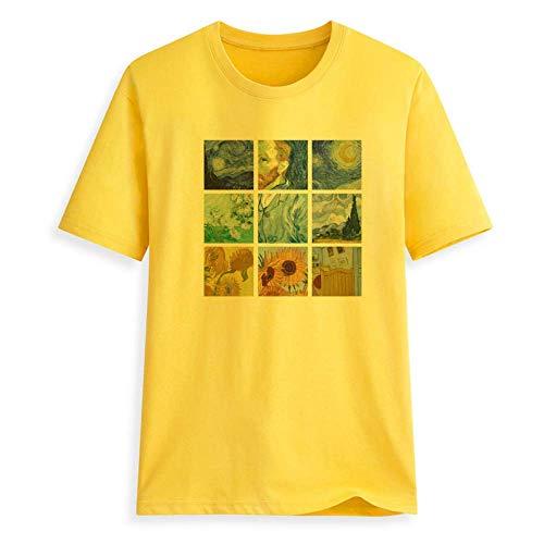 MR.YATCLS Vincent Van Gogh Camiseta con Estampado Al óleo Jiugongge - Camiseta Estampada En Caliente - Camiseta 100% Algodón- Tops Casuales - Mangas Cortas Apto para Hombres Y Mujeres.
