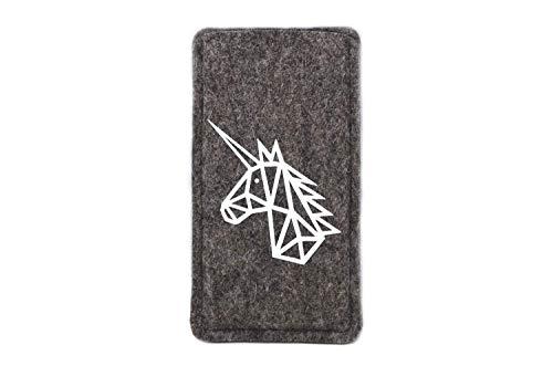 Handytasche mit geometrischem Einhorn, Maßanfertigung passend für dein Smartphone, Farbwahl: weiß, pink oder schwarz