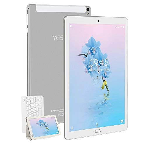 Tablet 10.1 Pulgadas YESTEL Android 8.1 Tablets con 3GB RAM & 32GB ROM y 4G LTE Dual SIM Call, 5.0 MP + 8.0 MP HD la Cámara y 8000mAH-Plata