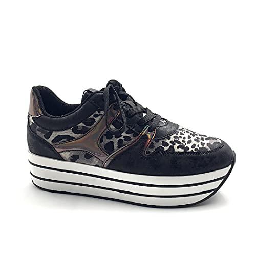 Angkorly - Zapatillas Moda Zapatilla - Sneakers de cuña Gran Plataforma Plano Streetwear Mujer Leopardo Rayas Plataforma 5 CM - Negro 6 F3201 T 38