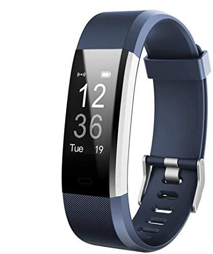 HETP Pulsera de Actividad, Reloj Inteligente con Pulsómetro Impermeable Pulsera Deportivo Actividad Monitor de Frecuencia Cardiáco Ritmo Reloj Fitness Podómetro,Sueño para Android y iOS