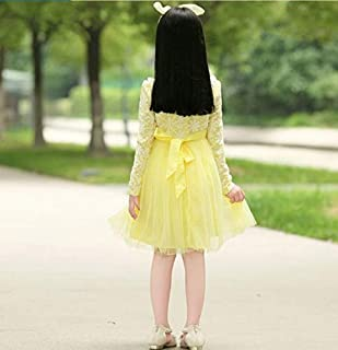 Girls Round Collar Long-sleeved Child Princess Gauze Skirt Cute Yellow Ntq2 11 To 12 Years Old