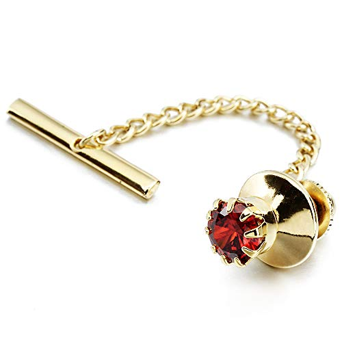 HAWSON Mens Crystal Tie Tack with Chain Gold Tie Clip Party Accessories 3 Color Options (Red)