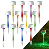 MAGGIFT 12 Pack Solar Pathway Lights, RGB Color Changing Outdoor Garden Stake Light, Waterproof Solar Powered Landscape Flower Stick, Auto Change Color for Lawn, Patio, Yard, Walkway, Deck, Driveway