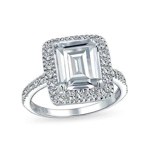 Art-Deco-Stil Große Aussage Halo Pave Zirkonia 925 Sterling Silber 5Ct Smaragd Geschnitten Verlobungsring Für Frauen