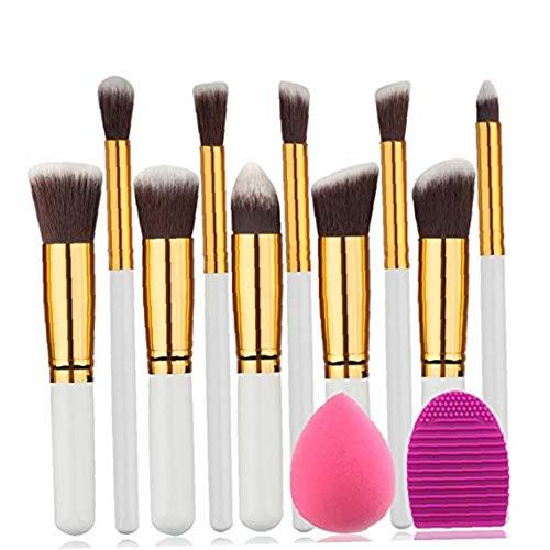 1set pinceau de maquillage Set fibres artificielles Soies Brosses cosmétiques Blending visage Brosses Outils de beauté avec le maquillage éponge or blanc