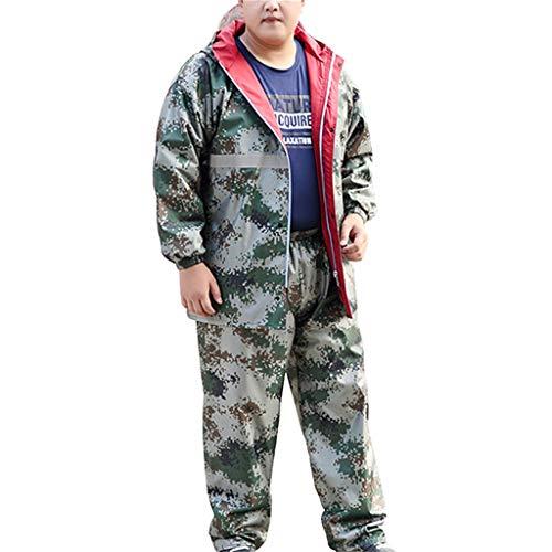 QDY-Rain Suit Chubasquero de Camuflaje para Hombre, con Capucha, para Actividades al Aire Libre, Pesca