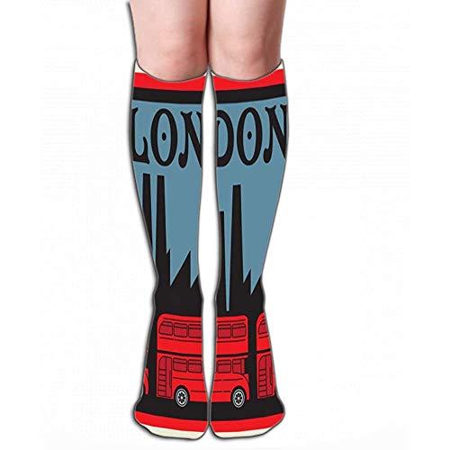 NGMADOIAN Damen Tube Strümpfe Herren Athletic Crew Socken 50 cm Etikettentext London Red Doppeldecker Bus Label Text London Red d