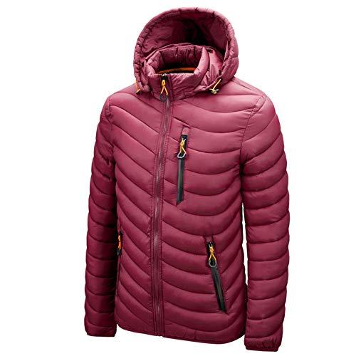 WLZQ Mens Coat Jacket Winter Mens Down Cotton Jacket Casual Zipper Removable Cap Cotton Youth Zipper Bag Digging Cotton Jacket Wine Red