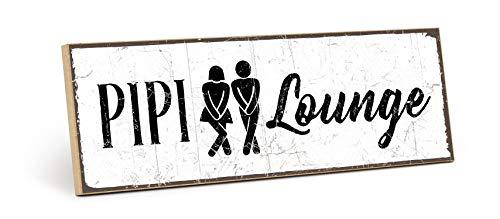 TypeStoff Holzschild mit Spruch – PIPI-Lounge – Grafik-Bild schwarz-weiß, Schild, Wandschild, Türschild, Holztafel, Holzbild als Geschenk und Dekoration (9,5 x 28,2 cm)