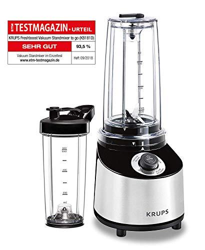 Krups KB181D Freshboost Vakuum to go Standmixer, 800, Edelstahl, grau/schwarz