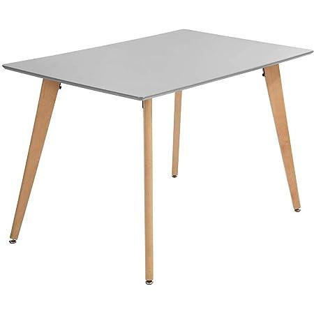 MEUBLE COSY ROOKIE 110 SQUARE LEG GREY Ⅵ Table à Manger de Cuisine, Table Basse de Détente, Gris et Rectangulaire en Bois, Guéridon de Salle de Conférence 110 x 70 x 74 cm