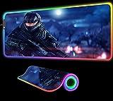 Alfombrilla de Ratón para Videojuegos Halo 4 RGB LED Impresión HD Accesorios para Juegos de Computadora Teclado con Borde de Bloqueo Alfombrillas para Pc 600X300X4 mm
