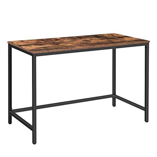 HOOBRO Schreibtisch, Computertisch, Bürotisch einfacher Industriestil, Arbeitstisch für das Home-Office, Laptop-Gaming Tisch, stabil und robust, leicht zu montieren, Dunkelbraun-Schwarz EBF52DN01