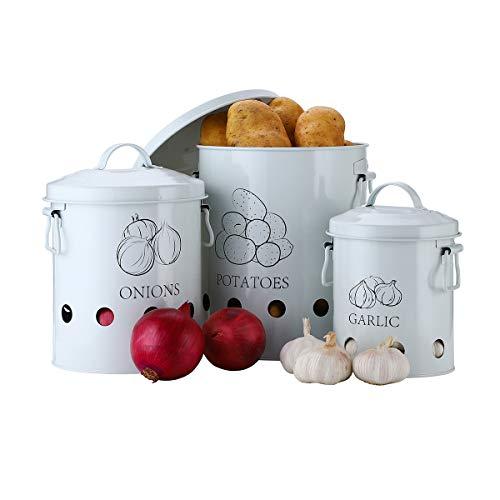 G.a Homefavor Set von 2 Antik Cremefarbene Vintage Kartoffel-Zwiebel-Aufbewahrungsdosen für Kartoffeln, Zwiebeln, Behälter mit Belüftungsöffnungen und Metalldeckel. 3Packs weiß