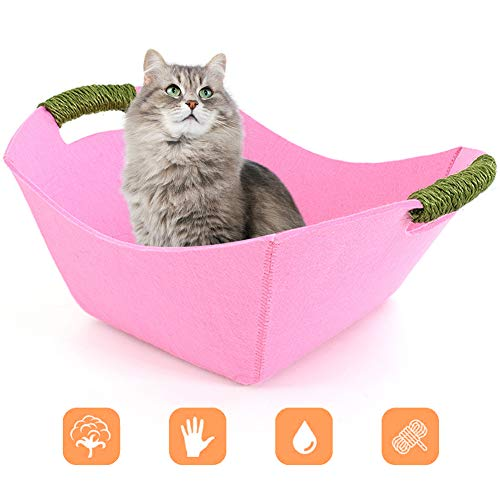Cat Bed Basket Nest with Handle, Felt Cat Beds Pet Sleeping Bedf House Nesting Summer for Puppy Kitten Small Dogs Indoor Play Washable Four Seasons Universal,Pink