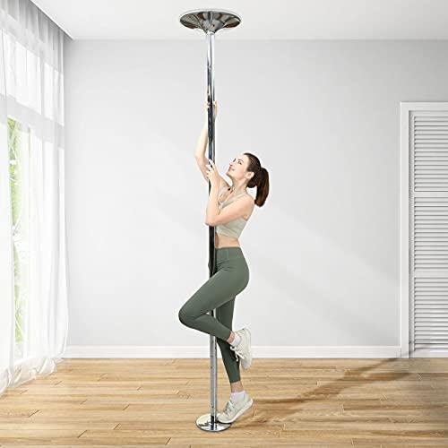 SAMAX Tanzstange Pole Dance Stange - Professional Tabledance für Zuhause Club Party - bis 200kg - Tragbar höhenverstellbar Abnehmbar Edelstahl 45mm Durchmesser Strip Stange - Statik, Spinning Funktion