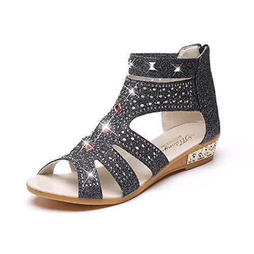 Sandalias de verano para mujer con diamantes de imitación y boca de pescado, zapatos romanos de tacón bajo, zapatos de cuña plana, bar, fiesta de baile, vestido de noche, boda