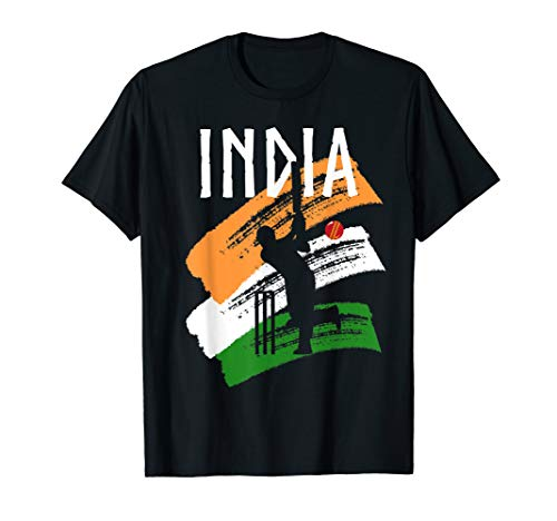 India Cricket With Indian Flag Brush Stroke Gift T-Shirt