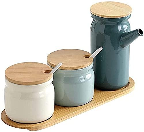 Keramische kruidenpot 3 STUKS Kruidenopslagcontainer met deksel kruidenpot met deksellepel en houten dienblad Kruiden…