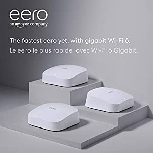 Amazon eero Pro 6 tri-band mesh Wi-Fi 6 system with built-in ZigBee smart home hub (3-pack)