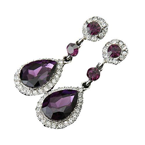 OverDose Pendientes Novia Pendientes De Boda Estilo Rhinestone De La Boda Para Las Mujeres Retro Y Elegante (Púrpura)